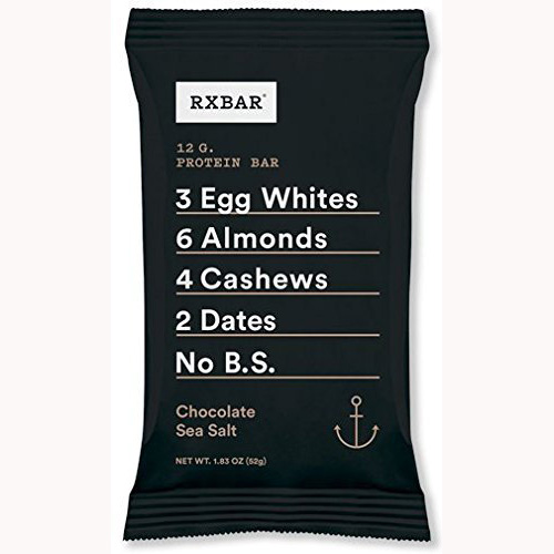 RXBAR Whole Food Protein Bar, Chocolate Sea Salt, 1.83 Ounce (Pack of 12) by RXBAR