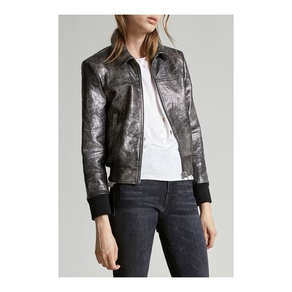 Berlin Leather Jacket Silver