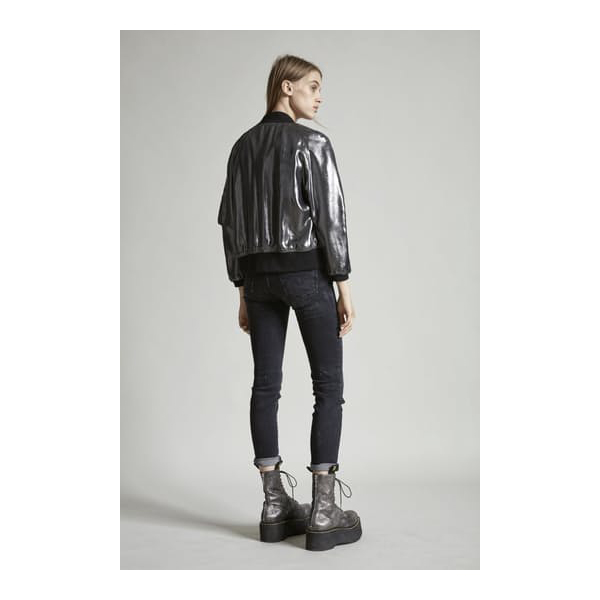 Reversible Metallic Flight Jacket Silver / Black