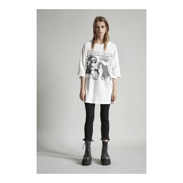 Sonic Youth Oversized Boyfriend T White
