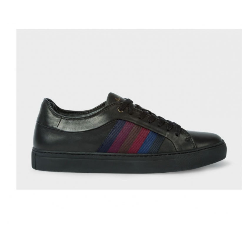 PAUL SMITH Men's Black Calf Leather 'Ivo' Trainers