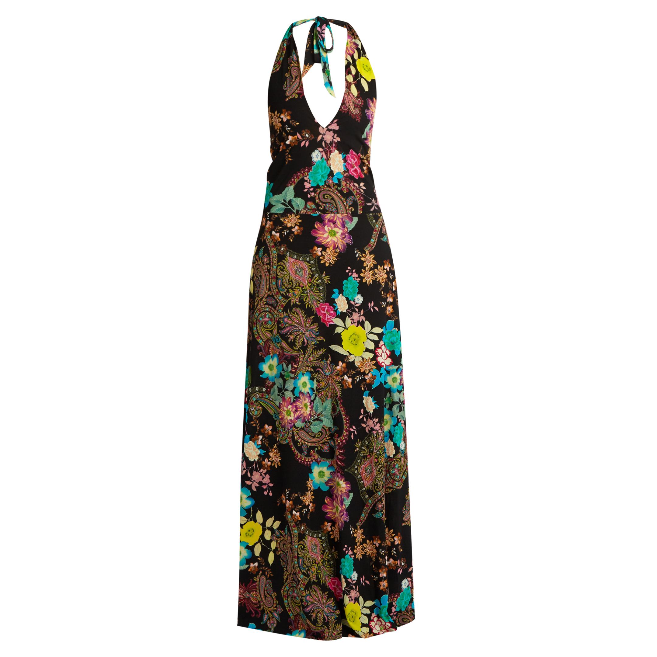 ETRO Floral paisley-print halterneck gown