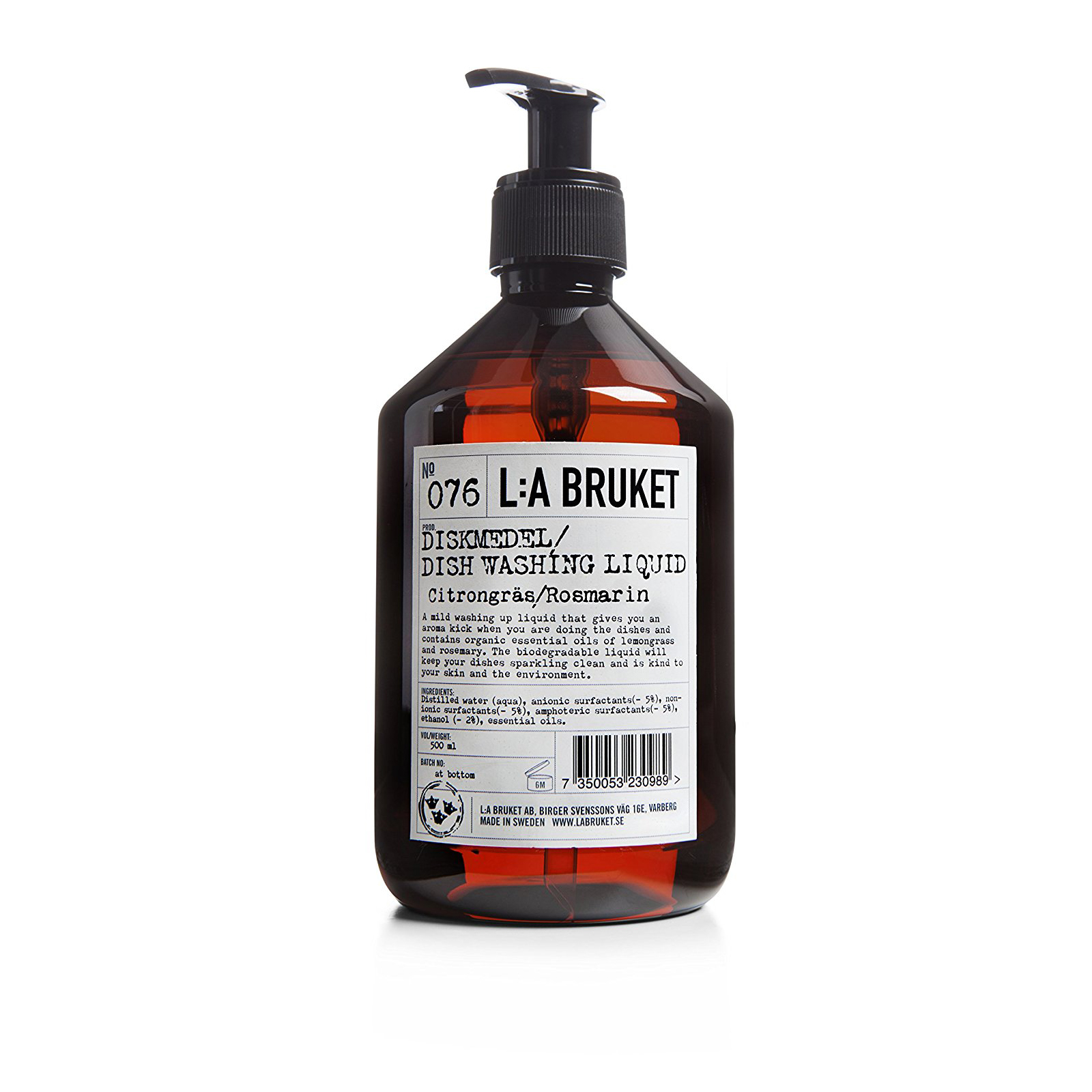 No. 076 Lemongrass/Rosemary Dishwashing Soap 500 ml by L:A Bruket