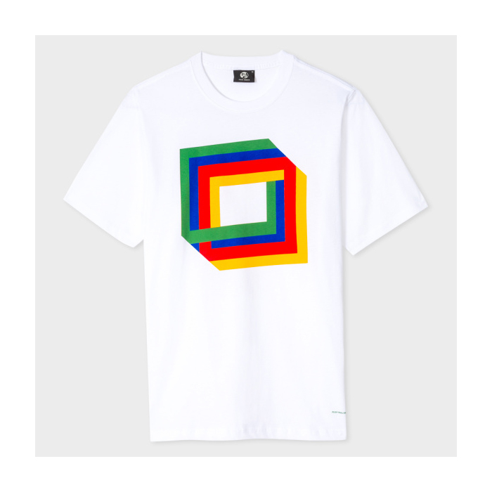 PS BY PAUL SMITH White 'Cube' Print Organic-Cotton T-Shirt