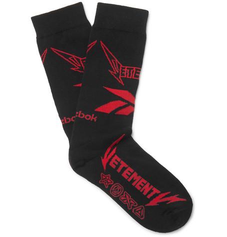VETEMENTS + Reebok Logo-Intarsia Stretch Cotton-Blend Socks