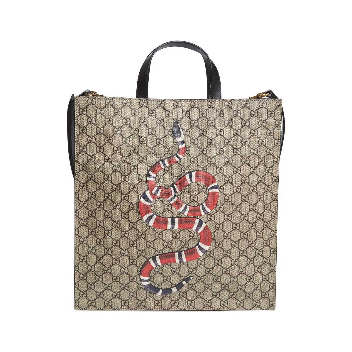 GUCCI Snake Print Canvas Tote