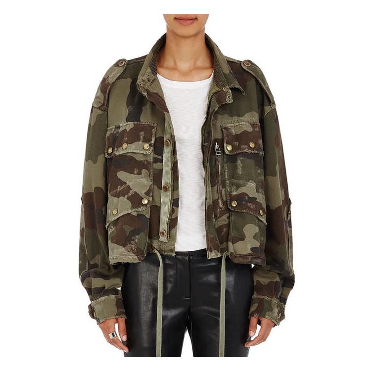 FAITH CONNEXION Camouflage-Print Chevron-Weave Boxy Jacket