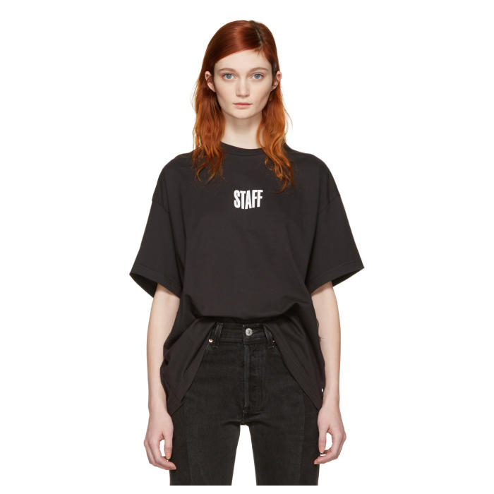VETEMENTS Black Hanes Edition Quick Made Oversized T-Shirt