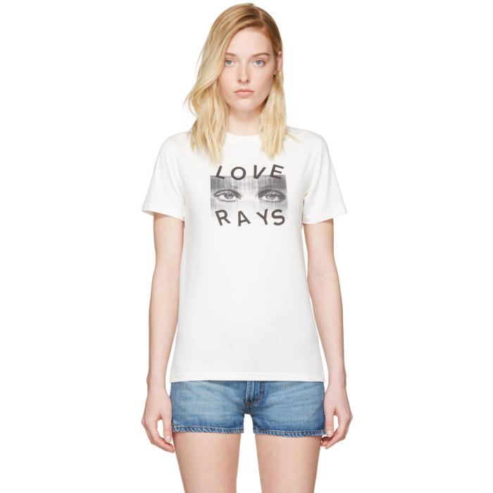 ALEXACHUNG  Ivory 'Love Rays' Boxy T-Shirt