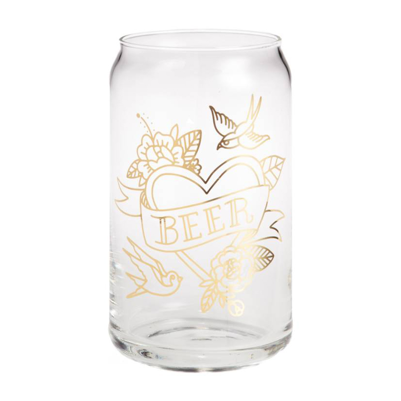 EASY, TIGER Tattoo Print Can Glass