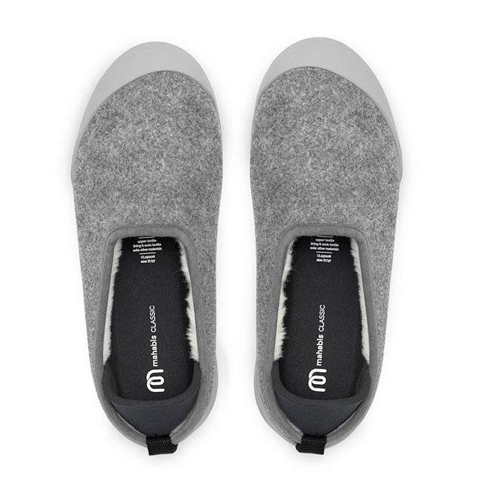 MAHABIS Light Grey Classic Slippers + Black Detachable Soles