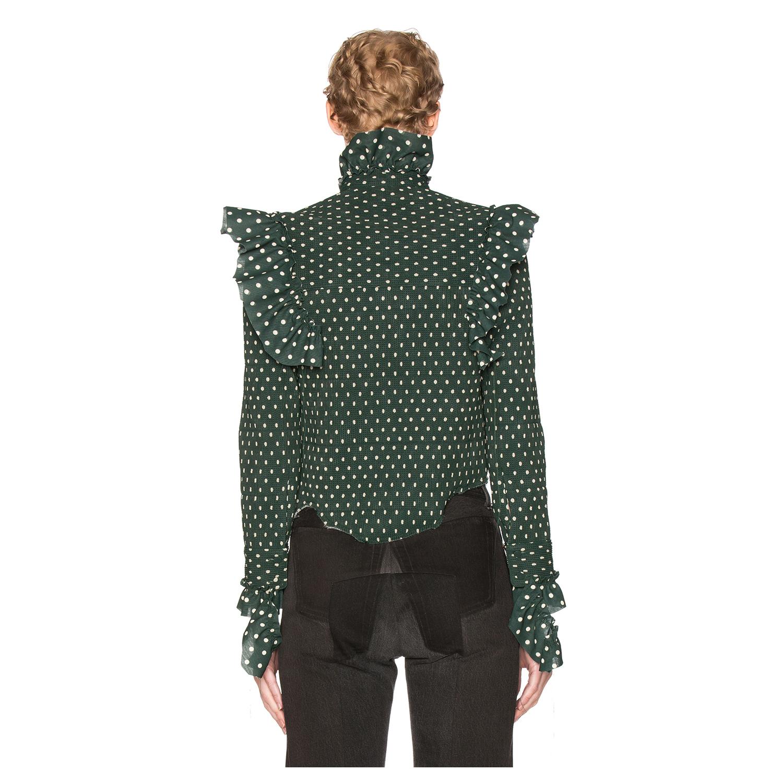 VETEMENTS Polka Dot Blouse in Green, Geometric Print