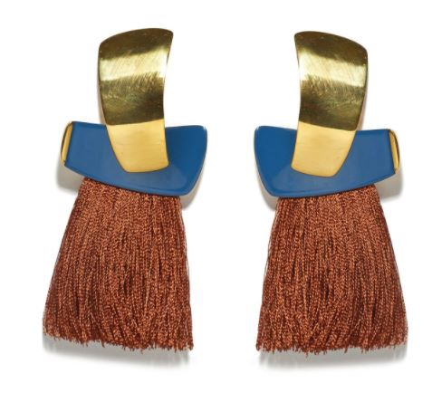 LIZZIE FORTUNATO Totem Tassel Earrings in Navy/Sienna