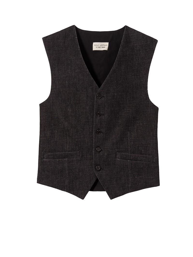 NILI LOTAN Men's Black Denim Enzo Vest