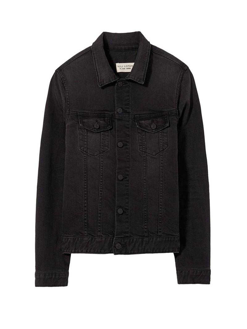 NILI LOTAN Black Resin Rinse Zeno Denim Jacket