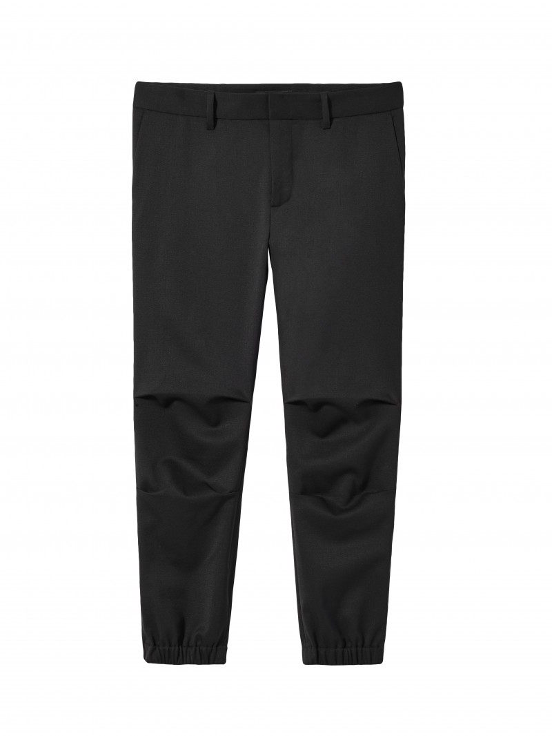 Black Wool Cropped Military Pant