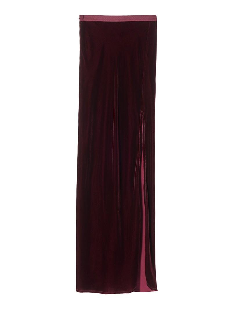 Burgundy Velvet Maya Maxi Skirt