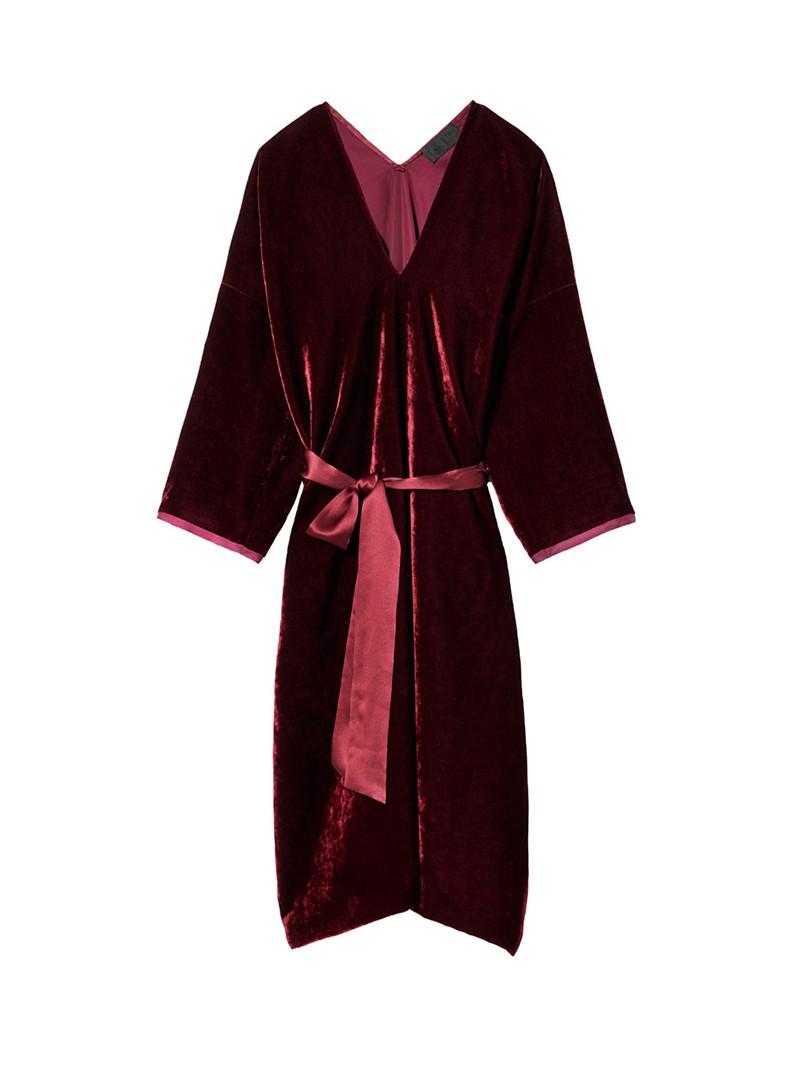 Burgundy Velvet Rochelle Dress