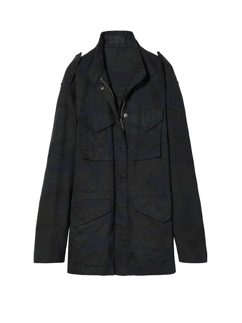 Dark Navy Camo Print Lori Military Jacket
