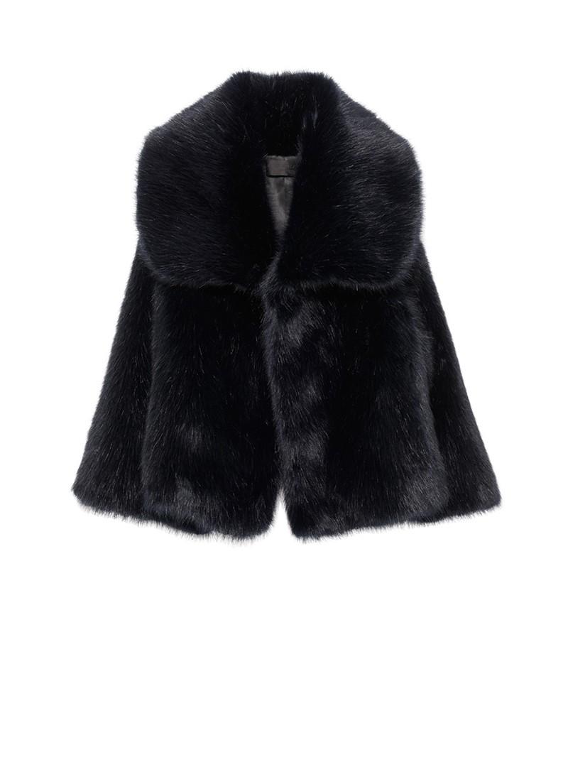 Dark Navy Faux Fur Garbo Coat