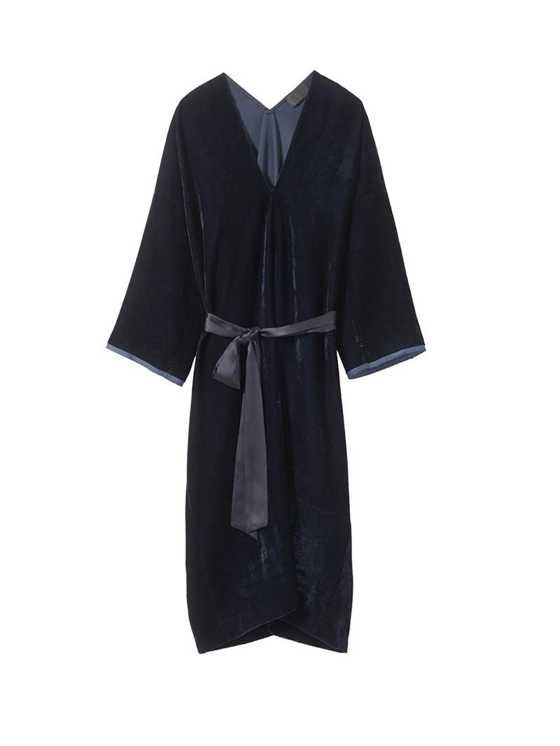 Dark Navy Velvet Rochelle Dress