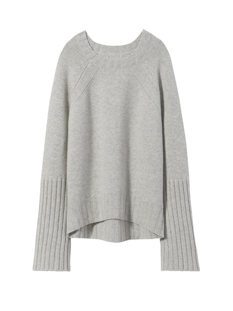 Light Grey Melange Cashmere Elsie Sweater