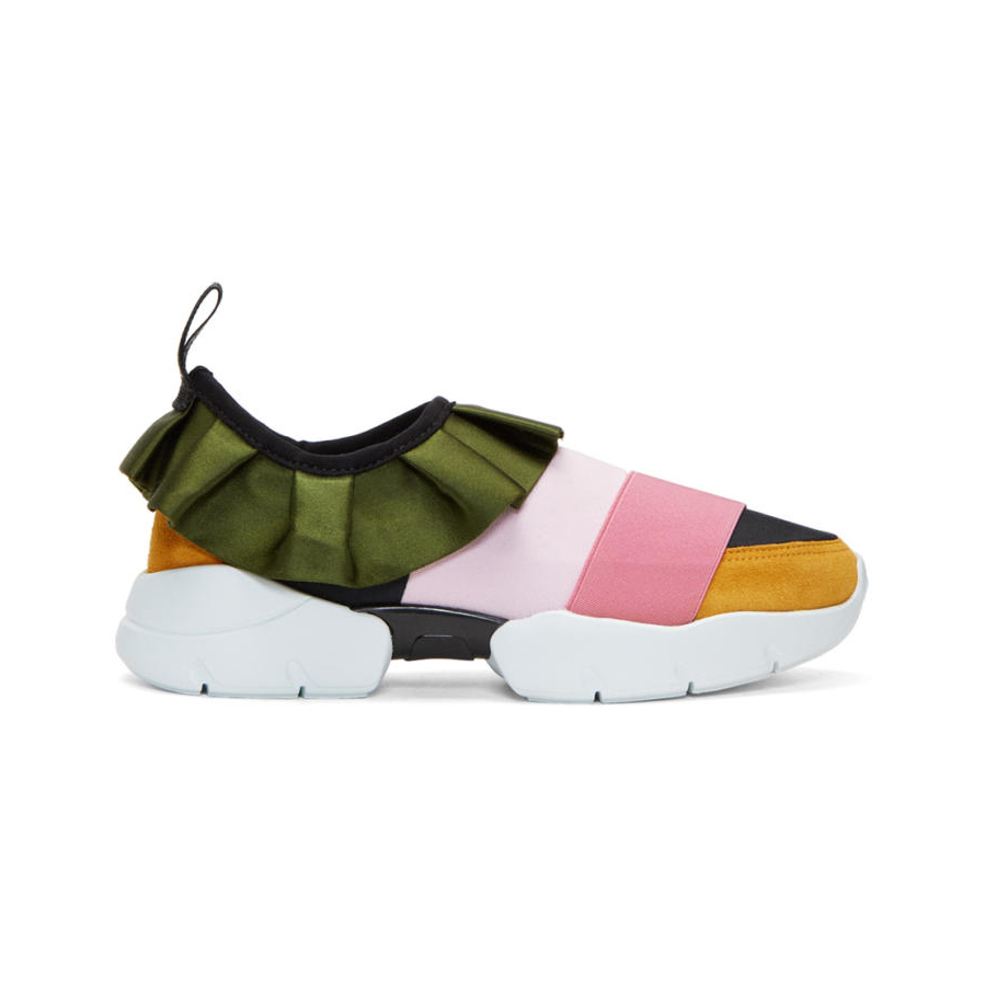 EMILIO PUCCI Pink and Green Colorblock Ruffle Slip-On Sneakers