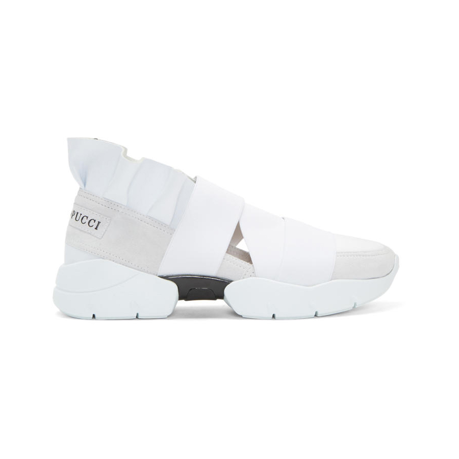EMILIO PUCCI White and Grey Colorblock Slip-On Sneakers