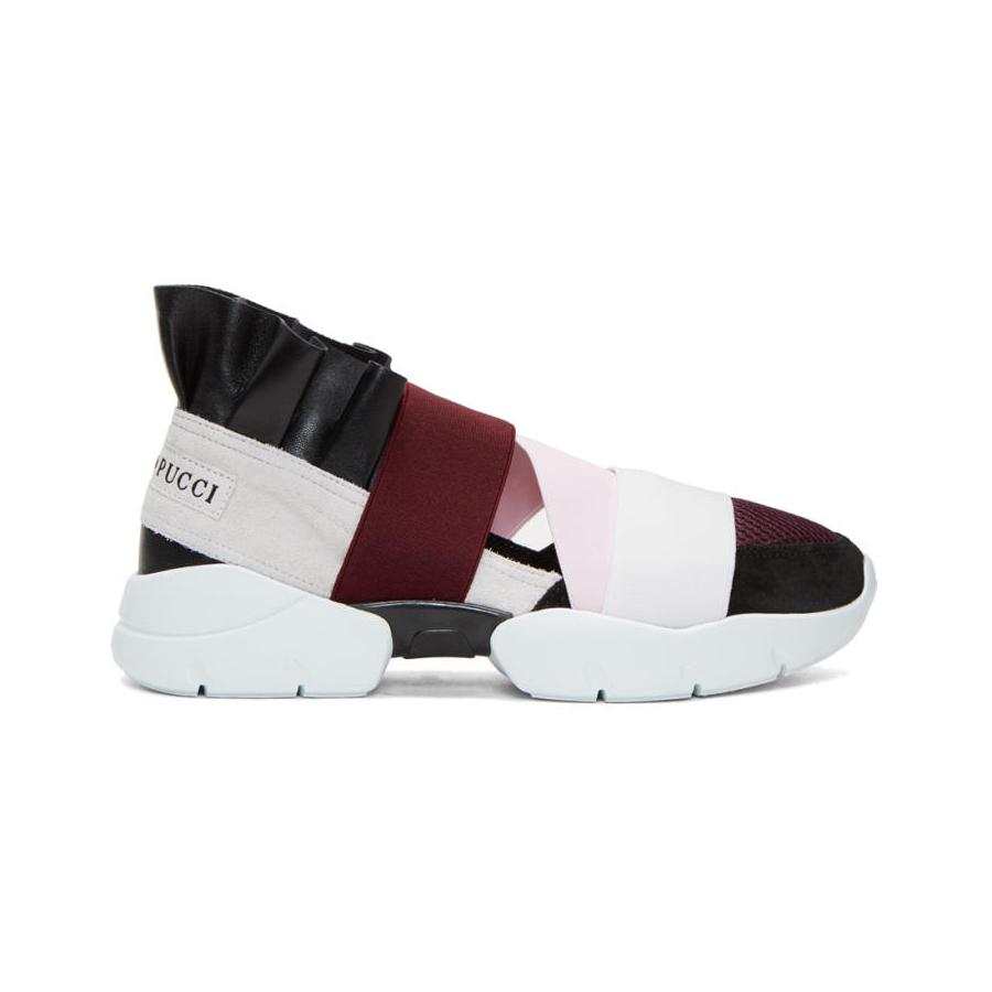 EMILIO PUCCI Black and Grey Colorblock Sneakers