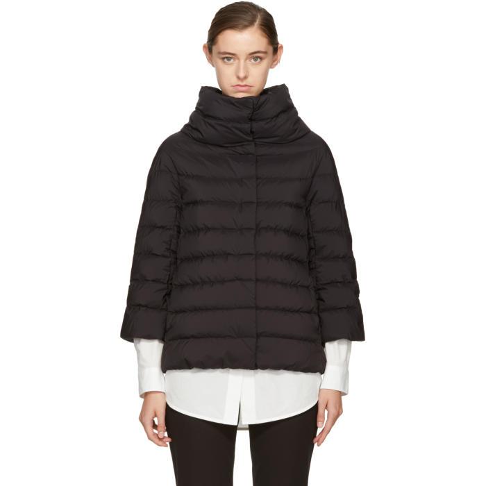 HERNO Black Matte Down Three-Quarter Cocoon Jacket