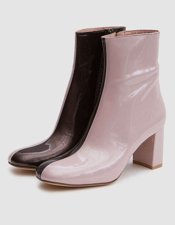MARYAM NASSIR ZADEH Agnes Boot In Champagne Pink/tar Patent