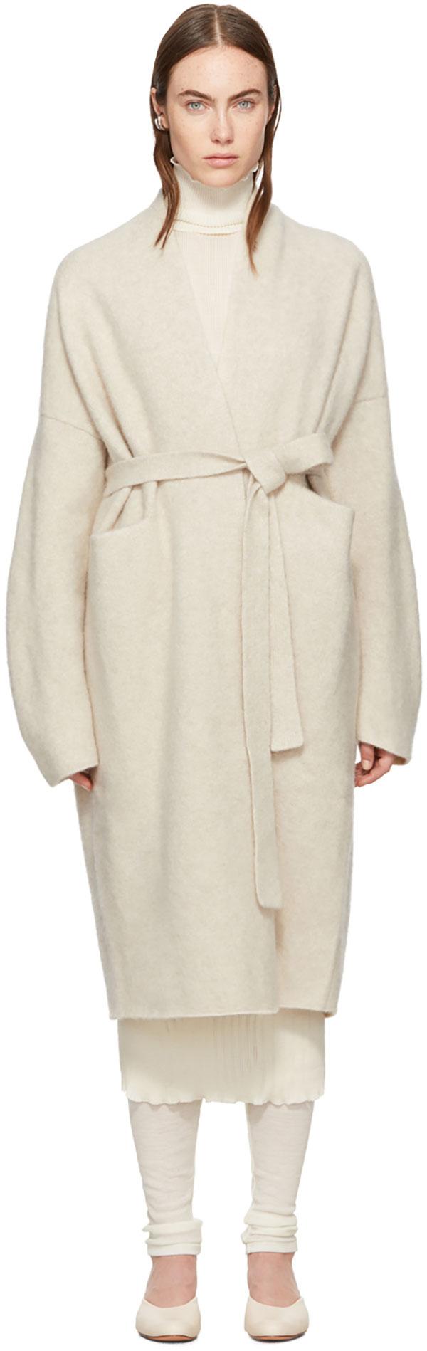 LAUREN MANOOGIAN Beige Cashmere Robe Coat