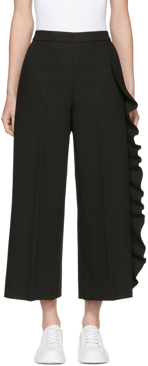 Black Cropped Wide-leg Ruffle Trousers