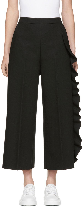 Black Cropped Wide-leg Ruffle Trousers