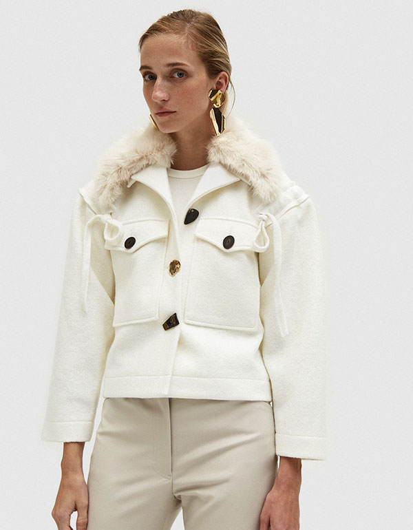 REJINA PYO Daphne Jacket With Faux Fur Collar