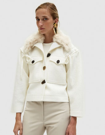Daphne Jacket with Faux Fur Collar