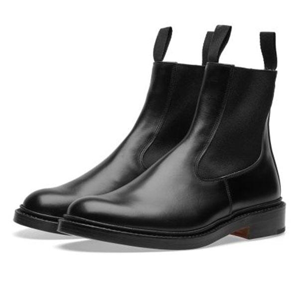 END. x Tricker's Stephen Chelsea Boot  Black Calf