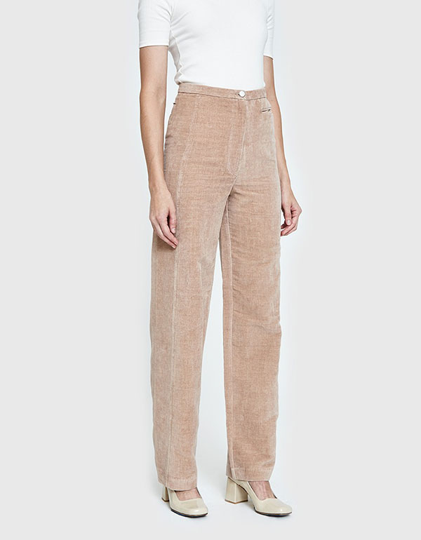 LEMAIRE High Waisted Pants In Smoked Pink