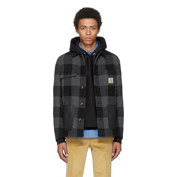 Junya Watanabe  Grey & Black Carhartt Edition Check Wool Jacket