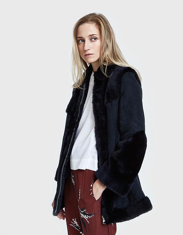 GANNI Lexington Shearling Long Jacket