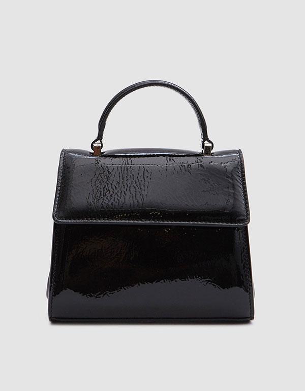 MARYAM NASSIR ZADEH Marlow Bag In Patent Black Crinkle