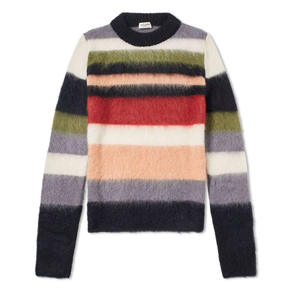 SAINT LAURENT Mohair Stripe Crew Knit  Multicolour
