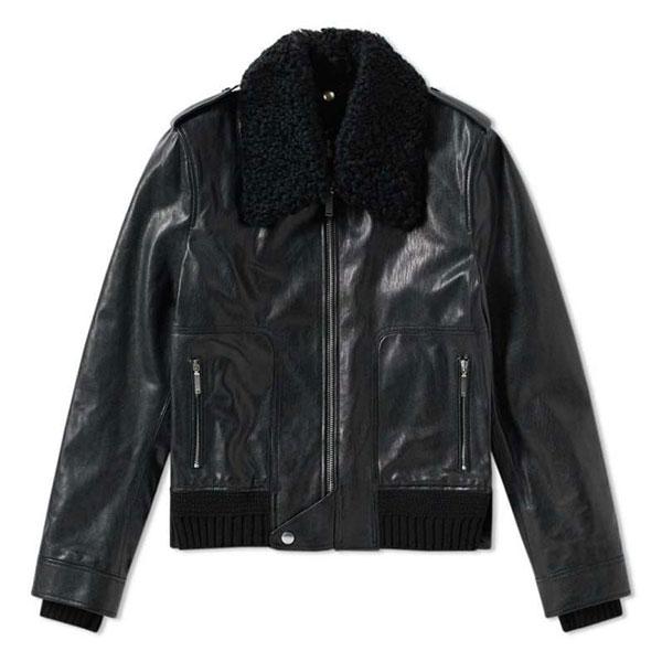 SAINT LAURENT Shearling Collar Leather Jacket  Black