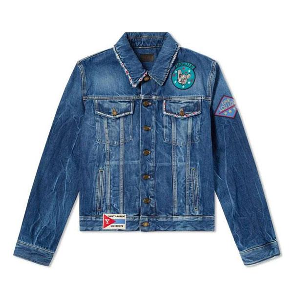 SAINT LAURENT Souvenir Patch Denim Jacket  Washed Indigo