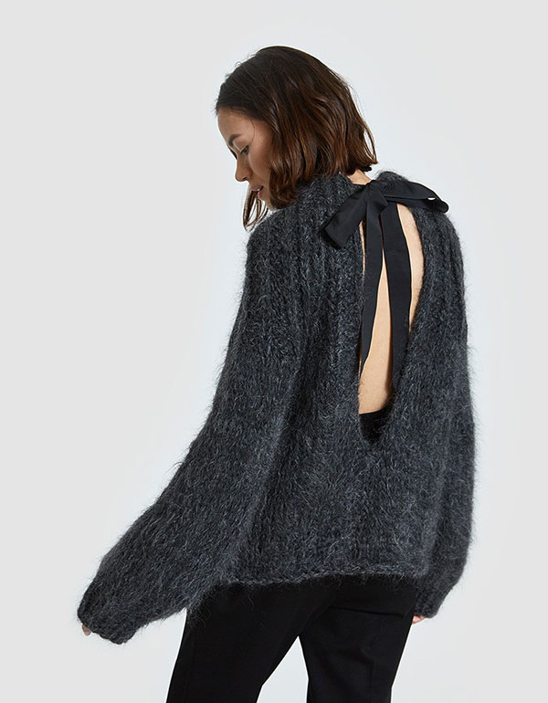 GANNI The Julliard Mohair Open Back Pullover