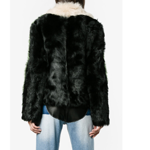 SANDY LIANG Cashew colour block shearling boxy jacket