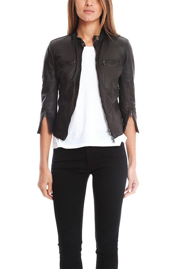 R13 Cafe Racer Leather Jacket in Black
