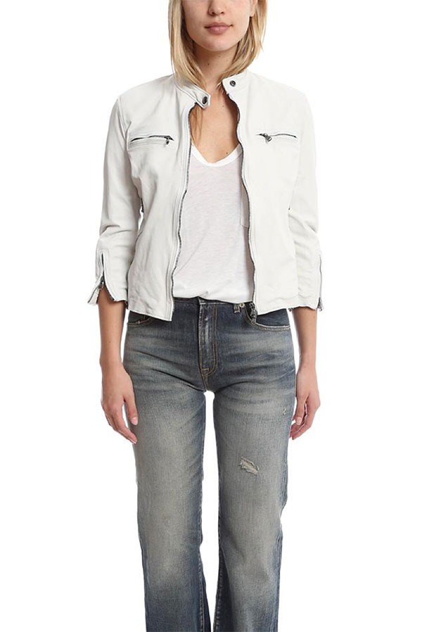 R13 Cafe Racer Leather Jacket in White