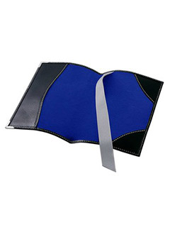 Passport Cover In Smooth Black & Cobalt Blue Suede