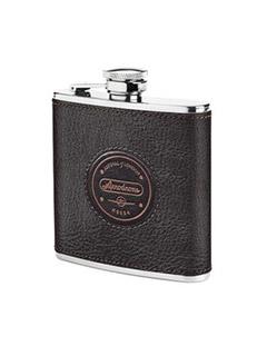 Aerodrome Classic 5Oz Leather Hip Flask In Dark Brown Pebble